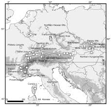 from the western alps across central europe postglacial
