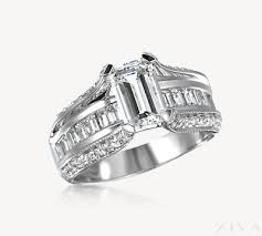 cathedral setting emerald cut ring setting with baguette pave band