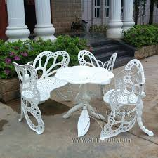 Butterfly Patio Chair 4 Butterfly Cast Aluminum Dining Chair And Table Patio