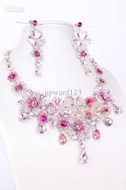 earring necklace set images Pink diamond bridal necklace earring set 977 party jewelrys bridal jpg