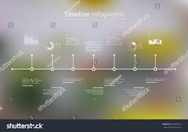 World Map Timeline by Timeline Infographic Unfocused Background Icons Set Stock Vector