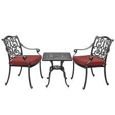 Sunbrella Bistro Chair Cushions Villa Flora 3 Piece Cast Aluminum Patio Bistro Set W Square Table