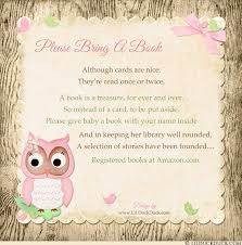 bring a book instead of a card baby shower shower book request wording build baby s library ideas