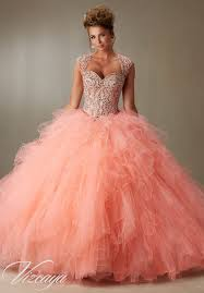 quinceanera dresses coral quinceanera dress coral beading on a ruffled tulle
