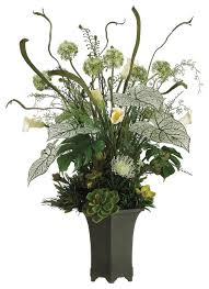 lifelike protea echeveria and fern silk floral arrangement