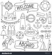 doodle hand drawn nautical decor set stock vector 279356030