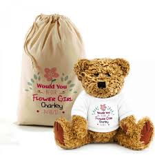 flower girl teddy personalised will you be my flowergirl teddy in a bag lovely