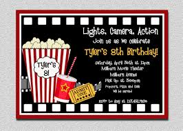 Invitation Birthday Party Card Movie Birthday Invitation Movie Night Birthday Party