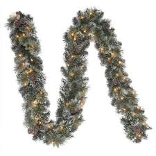 martha stewart living 9 ft pre lit sparkling garland with clear