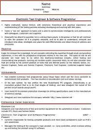 Test Engineer Resume Objective Sample Resume For Electronics Engineer Electronics Engineering