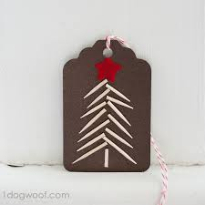 gift tags day 1 toothpick tree one woof