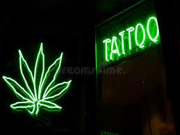 tatto and marijuana neon signs stock image image 30383811