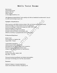 Resume Templates Mobile by Mobile Testing Sample Resume Free Resume Example And Writing