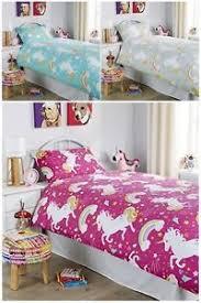 new unicorn kids girls duvet quilt cover bedding set rainbow horse