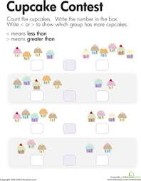 comparing cupcakes less than and greater than worksheet