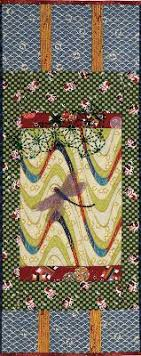 japanese online class japanese scroll with beaded dragonfly and sashiko beading on