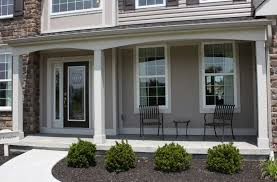 exterior epic image of front porch decoration using grey stone