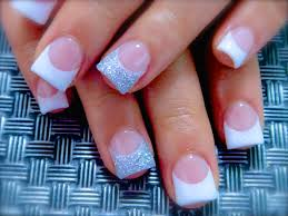simple and elegant acrylic nail art baby flares pink and white