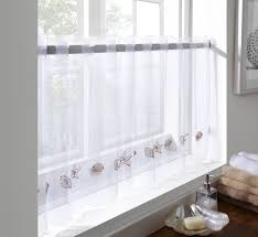 sheer voile cafe panel kitchen bathroom ready made tier valance