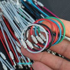 wire key rings images 12x 4 quot stainless steel wire keychain cable clasp key ring luggage jpg