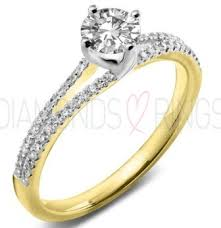 gold engagement rings uk engagement ring cut centre with split cut band
