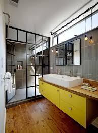 alumax shower doors bathroom industrial with bare bulb pendants