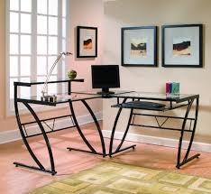 Home Office Furniture Sets Z Line Belaire Glass L Shaped Desk Zl1441 1du Inside Z Line