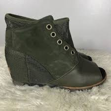 womens brown boots size 12 sorel womens sorel leather wedge casual bootie size 12 from