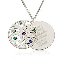 birthstone necklace personalized family necklace birthstones pendant 925