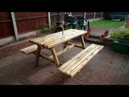 Make Your Own Picnic Table Bench by How To Build Your Own Picnic Bench Out Of Pallets Youtube