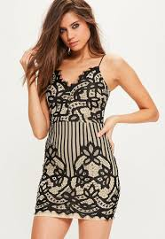 black lace strappy plunge bodycon dress missguided