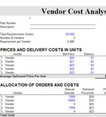 Cost Analysis Excel Template Vendor Cost Analysis Chart My Excel Templates