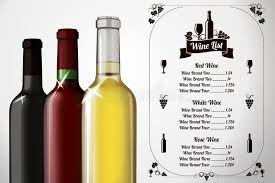 menu template for alcohol with three realistic stock photo
