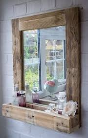 Wooden Bathroom Mirrors Rustic Bathroom Mirror With Shelf Made From Reclaimed Pallet Wood