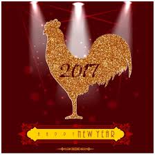 2017 year template design with glossy rooster vectors stock in