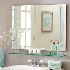 impressive frameless bathroom mirror with shelf property bathroom