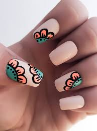 flower fake nails nail polish coral nails acrylic nails