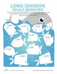 long division whale muncher worksheet education com