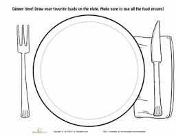 dinner plate coloring page worksheets dinners and kindergarten