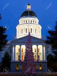 capitol christmas tree in sacramento california stock photo