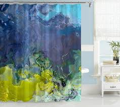 Yellow And Navy Shower Curtain Abstract Art Shower Curtain Blue Lime Green Navy Blue Purple
