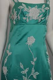aqua silk sheath dress with intricate seed bead floral design