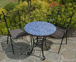 Iron Bistro Table Set Furniture Exquisite Blue Mosaic Bistro Table And Black Iron