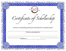 templates for scholarship awards scholarship certificate template word templates
