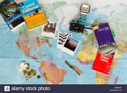 travel planning images Travel planning map of the world guide books currency stock jpg