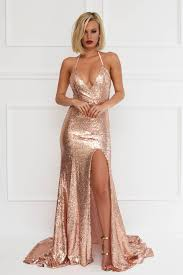 Gold Crystals Prom Dresses Mermaid Prom Dresses Deep V Neck Prom