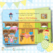 goldilocks birthday invitation goldilocks and the three bears