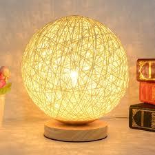 Rattan Table Lamp 2018 220v Creative Rattan Ball Design Table Lamp Diameter 15cm