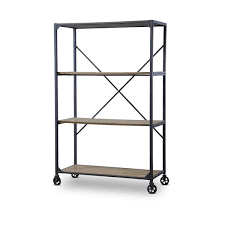 Reclaimed Wood And Metal Bookcase Baxton Studio Caribou Industrial Rustic Wood And Metal Bookcase