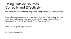 dr seuss writing paper how to use outside sources correctly and effectively taken from dr 2 using